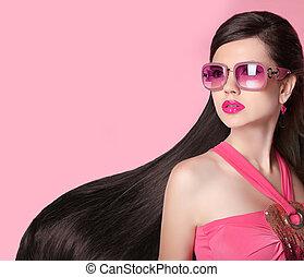 menina, modelo moda, beleza, óculos de sol
