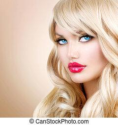 menina mulher, cabelo, portrait., loura, ondulado, longo, bonito, loiro