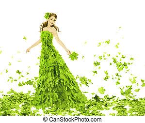 menina mulher, dress., moda, sobre, folhas, beleza, estações, verão, fantasia, vestido, criativo, verde, experiência., primavera, bonito, branca