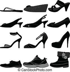 menina, mulher, sapatos, femininas, calçado
