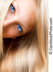 menina, olhos, azul, hair., loura, loiro