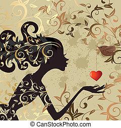 menina, pássaro, valentine