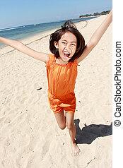 menina, praia, executando