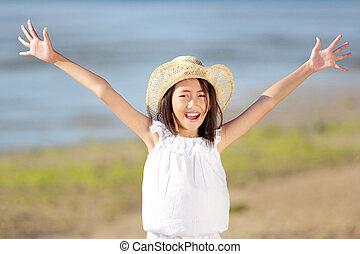 menina, praia, feliz