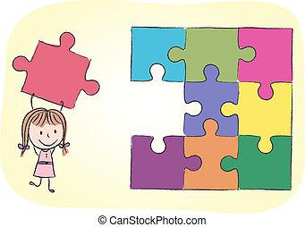 menina, resolvendo, quebra-cabeça