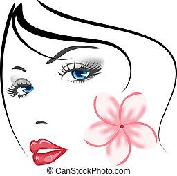 menina, rosto, beleza