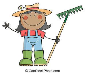 menina, segurando, pretas, agricultor, ancinho