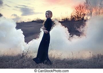 menina, sensual, fumaça, natureza, bonito