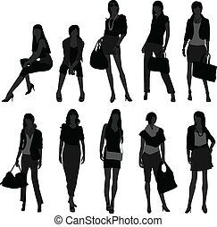 menina, shopping mulher, modelo, femininas