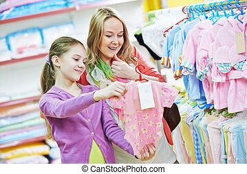 menina, shopping mulher, roupas