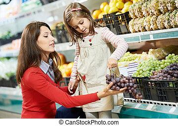 menina, shopping, supermercado, mãe