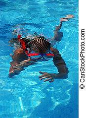 menina, snorkeling