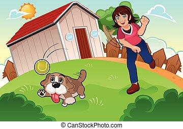 menina, tocando, dela, cão