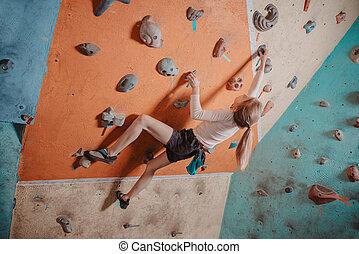 menina, treinamento, ginásio, escalador