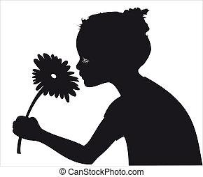 menina, vetorial, silueta, flor, cheirando