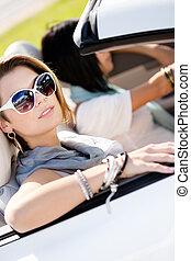 meninas, óculos de sol, cima, automóvel, fim