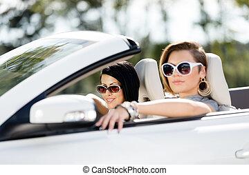 meninas, óculos de sol, cima, car, fim