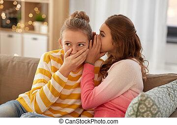 meninas, adolescente, lar, fofoque