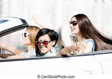 meninas, branca, grupo, car