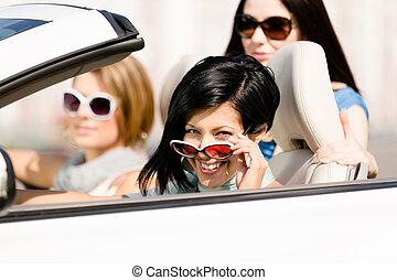 meninas, conversível, grupo, car