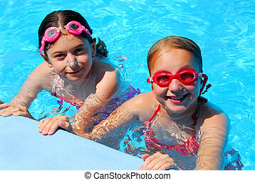 meninas, crianças, piscina