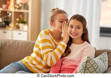 meninas, feliz, fofoque, adolescente, lar