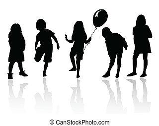 meninas, tocando, silueta