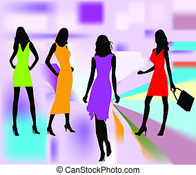 meninas, vetorial, moda