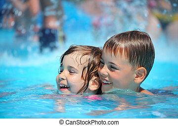 menininha, aquapark, natação, menino, sorrindo, piscina
