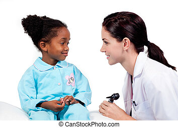 menininha, assistindo, adorável, exame, médico