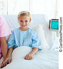 menininha, cama, doente, hospitalar