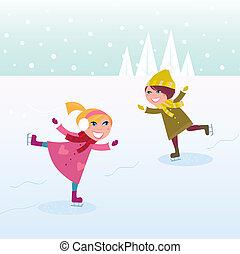 menininha, menino, patinação gelo
