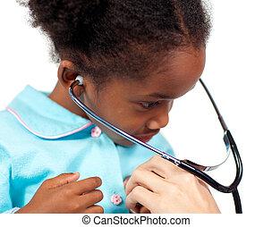 menininha, tocando, estetoscópio, exame, médico