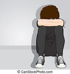 menino, adolescente, desesperado, triste