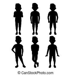 menino, adolescente, jogo, silueta