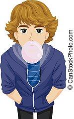 menino adolescente, pastilha elástica, ilustração