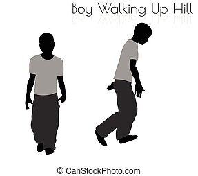 menino, andar, pose, cima, todos os dias, fundo, branca, hilll
