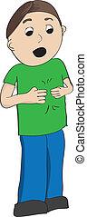 menino, assinando, camisa verde, mais