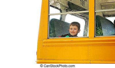 menino, autocarro escolar, levantar, fundo, branca