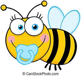 menino bebê, personagem, caricatura, abelha