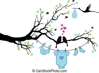 menino bebê, vetorial, pássaros, árvore
