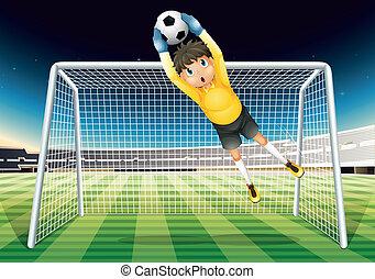 menino, bola futebol, pegando