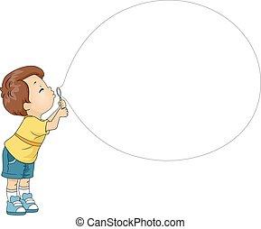 menino, bolha soprando, brinquedo, criança