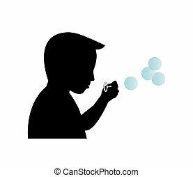 menino, bolhas, soprando