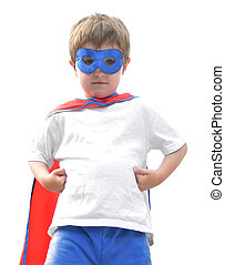 menino, branca, bravos, herói, super