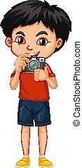 menino, câmera, feliz, um