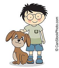 menino, cão, seu