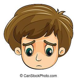 menino, cabeça, jovem, triste