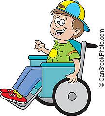 menino, cadeira rodas