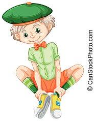menino, camisa verde, feliz